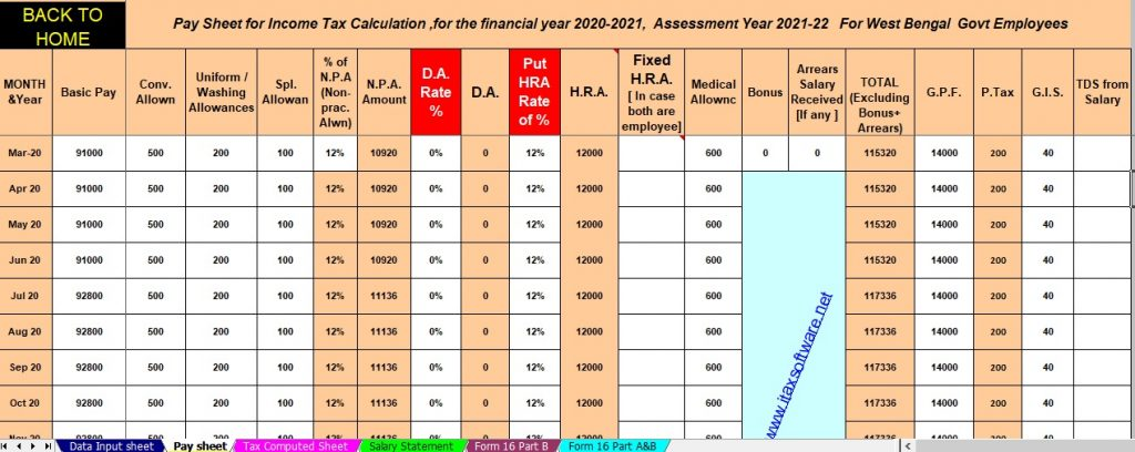 Income Tax Calculator for the W.B.Govt Employees for the F.Y.2020-21